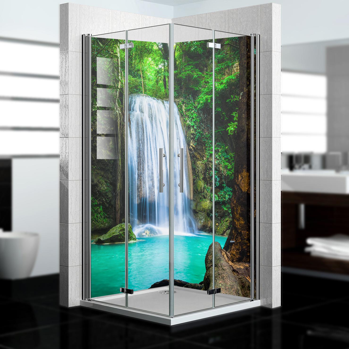 Duschrückwand mit Wasserfall V1 Motiv, als Badrückwand zum Fliesenersatz